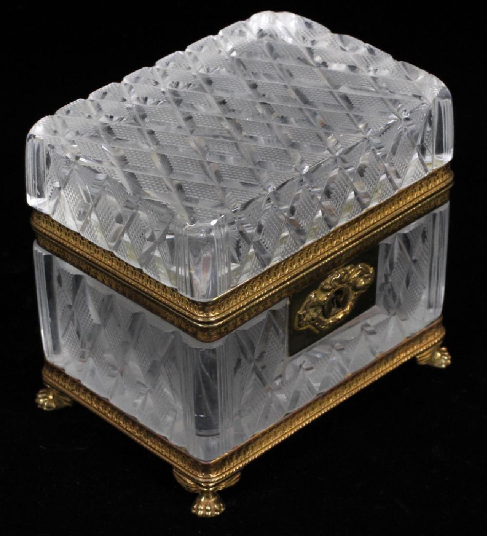 FRENCH CUT GLASS JEWEL CASKET, CA. 1900 - 2