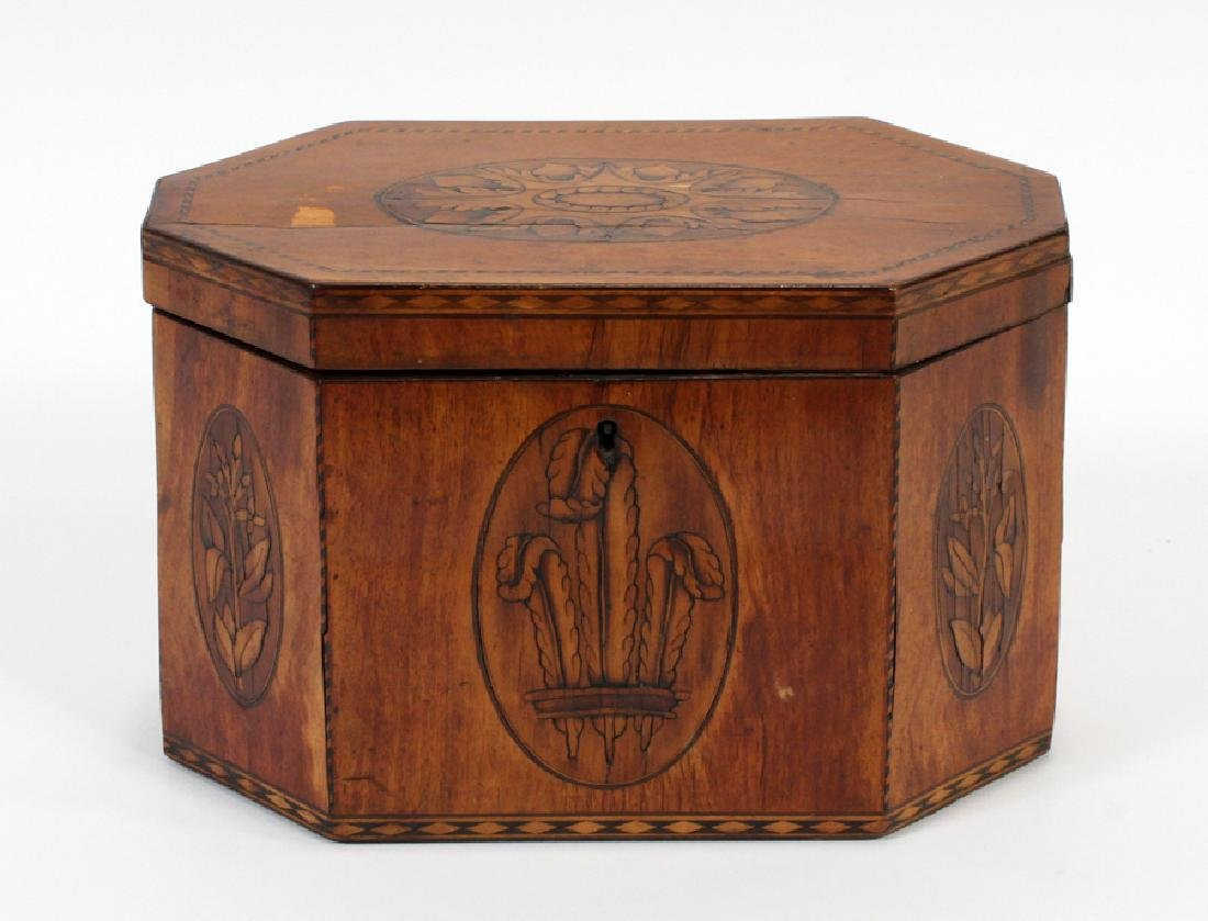 ENGLISH FRUITWOOD INLAID TEA CADDY, CA. 1840