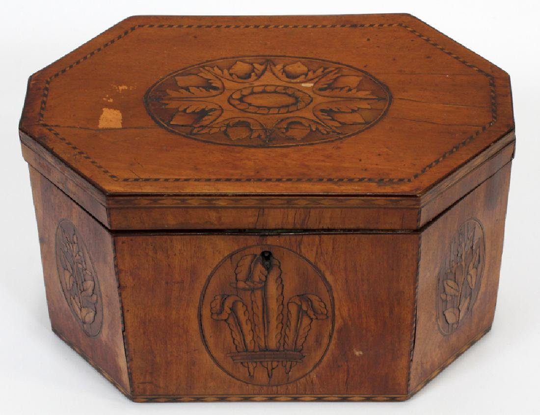 ENGLISH FRUITWOOD INLAID TEA CADDY, CA. 1840 - 2