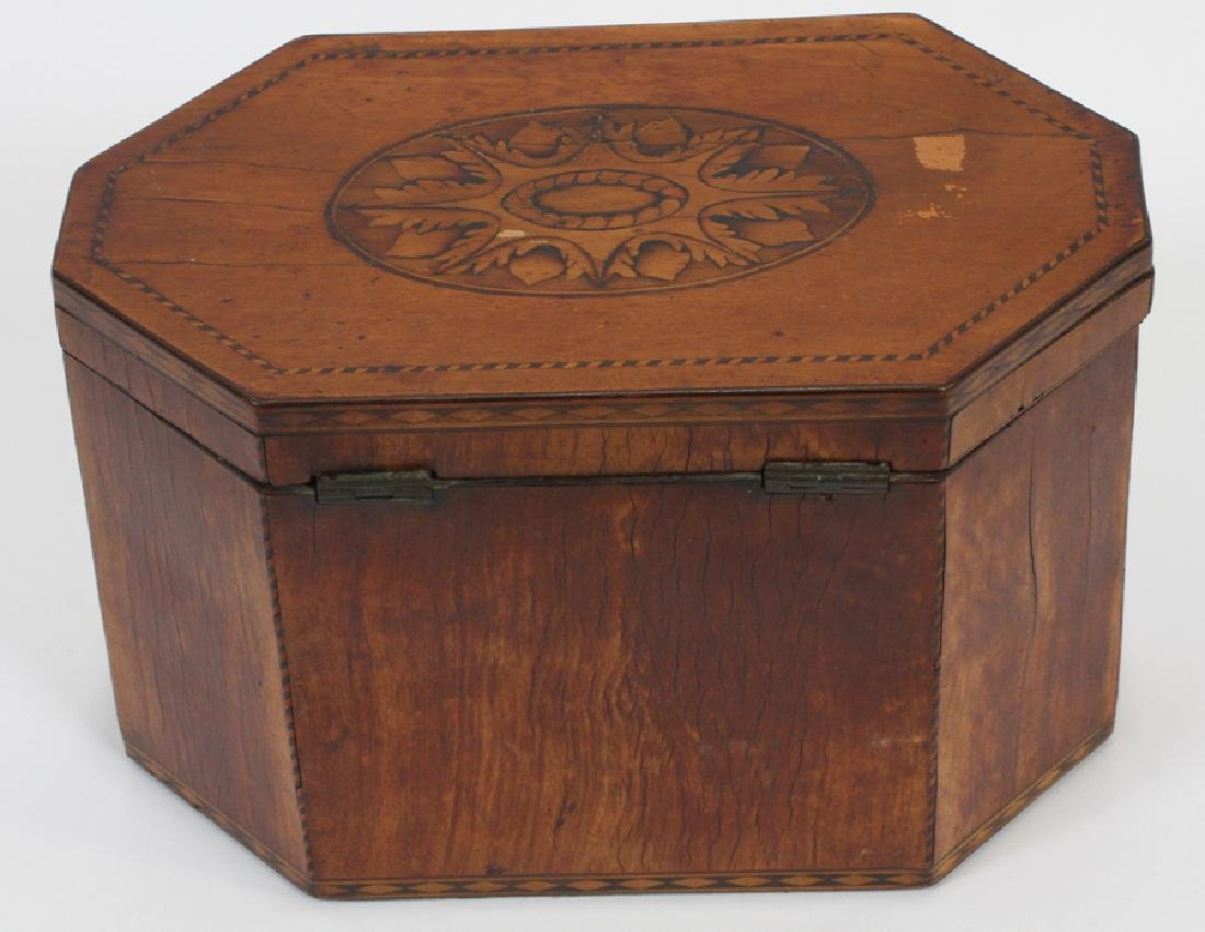 ENGLISH FRUITWOOD INLAID TEA CADDY, CA. 1840 - 3