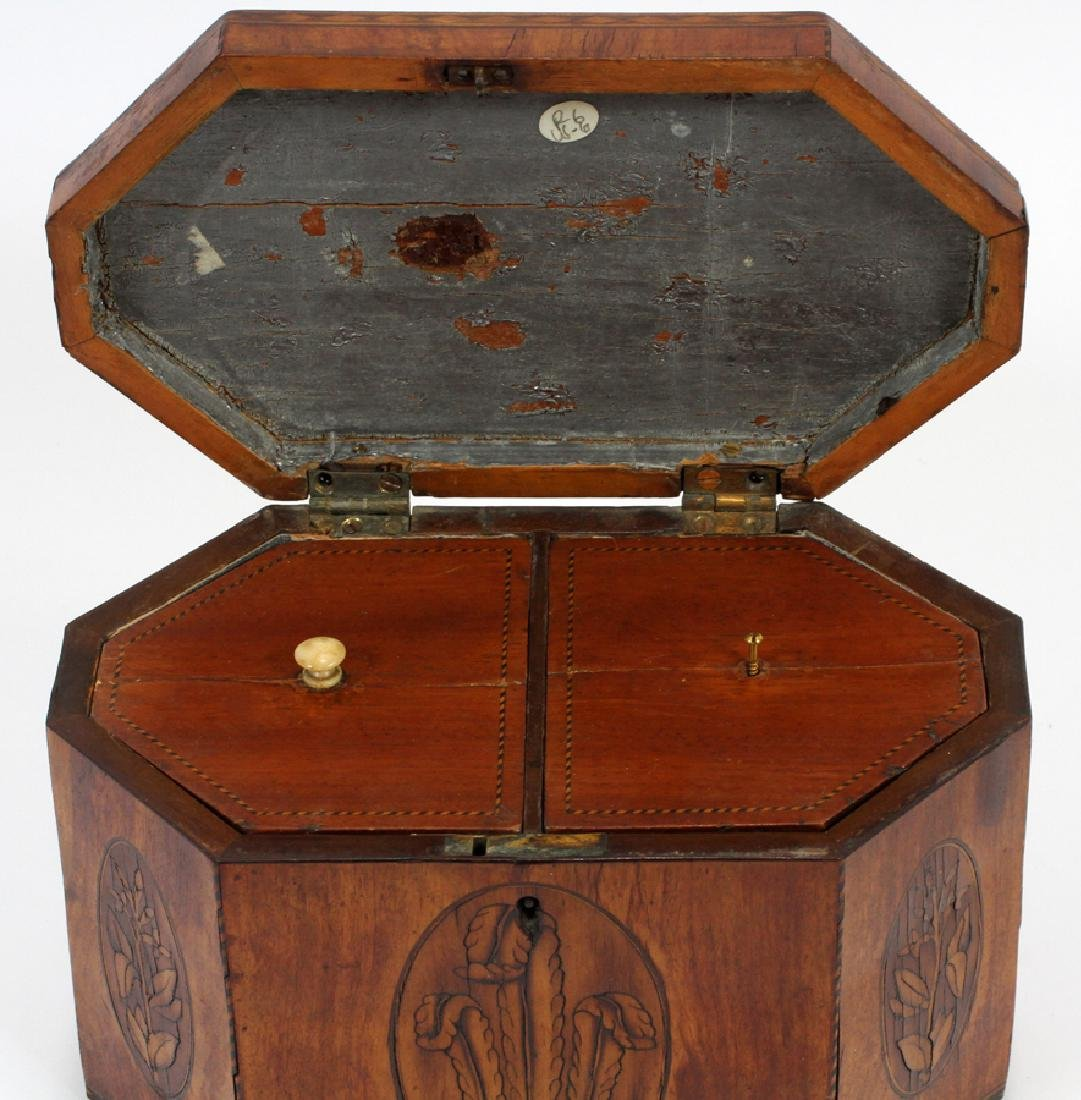 ENGLISH FRUITWOOD INLAID TEA CADDY, CA. 1840 - 4