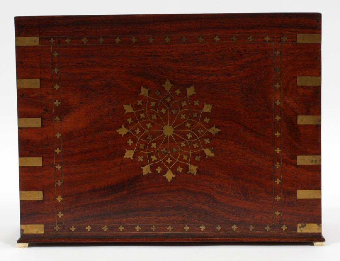 FRENCH ROSEWOOD & BRASS BOULLE LETTER FILE - 3