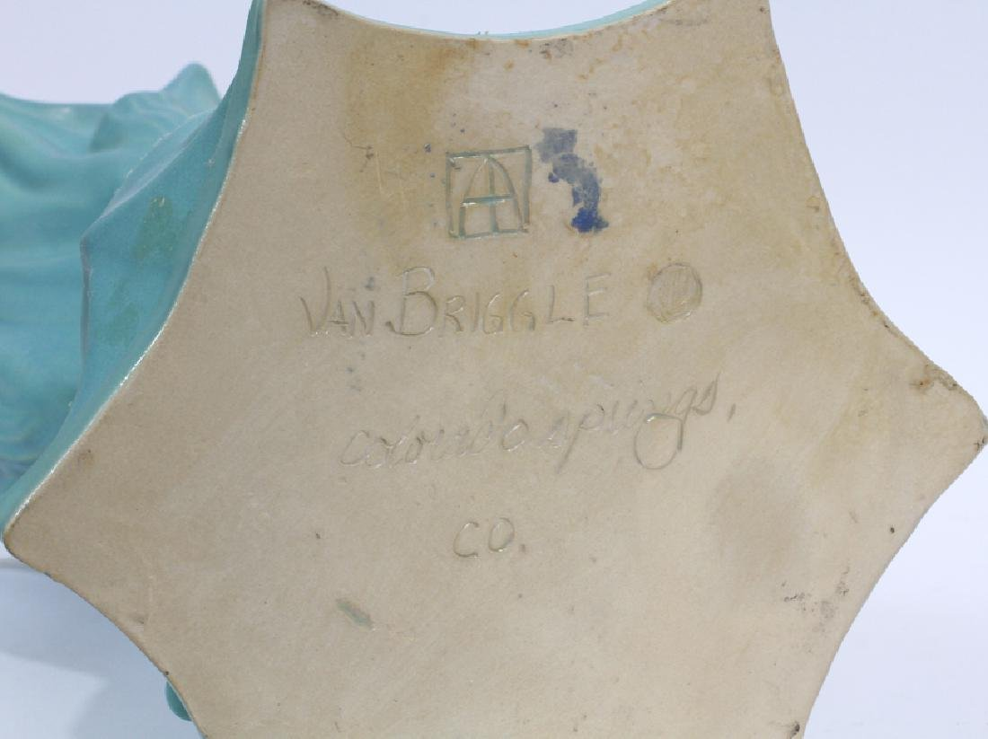 "VAN BRIGGLE ART POTTERY VASE, H 17.5"", DIA 11"" - 3"