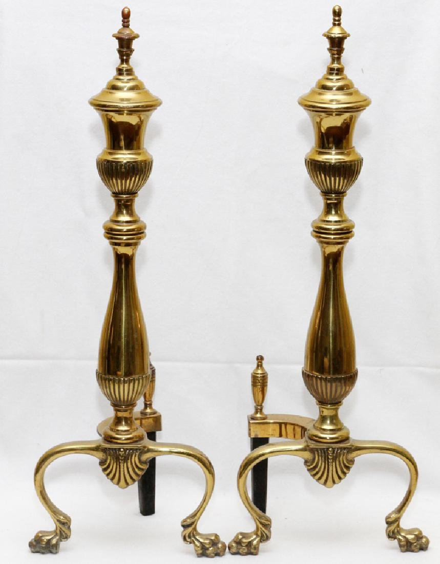 FEDERAL STYLE BRASS ANDIRONS, PAIR, H 23""