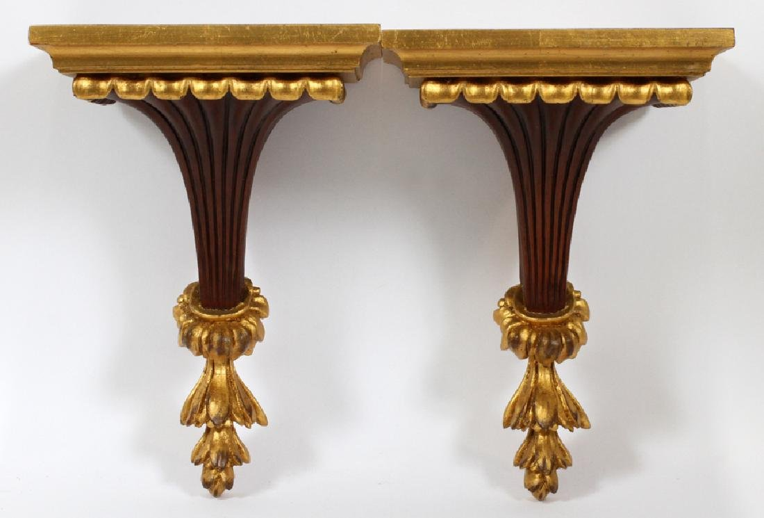GILT WOOD WALL PLAQUES, PAIR