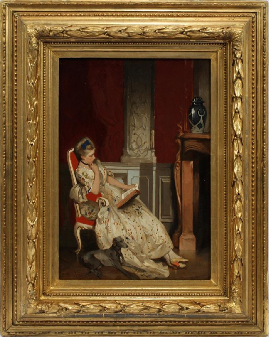 ALBRECHT GRUEBER OIL ON CANVAS LADY READING