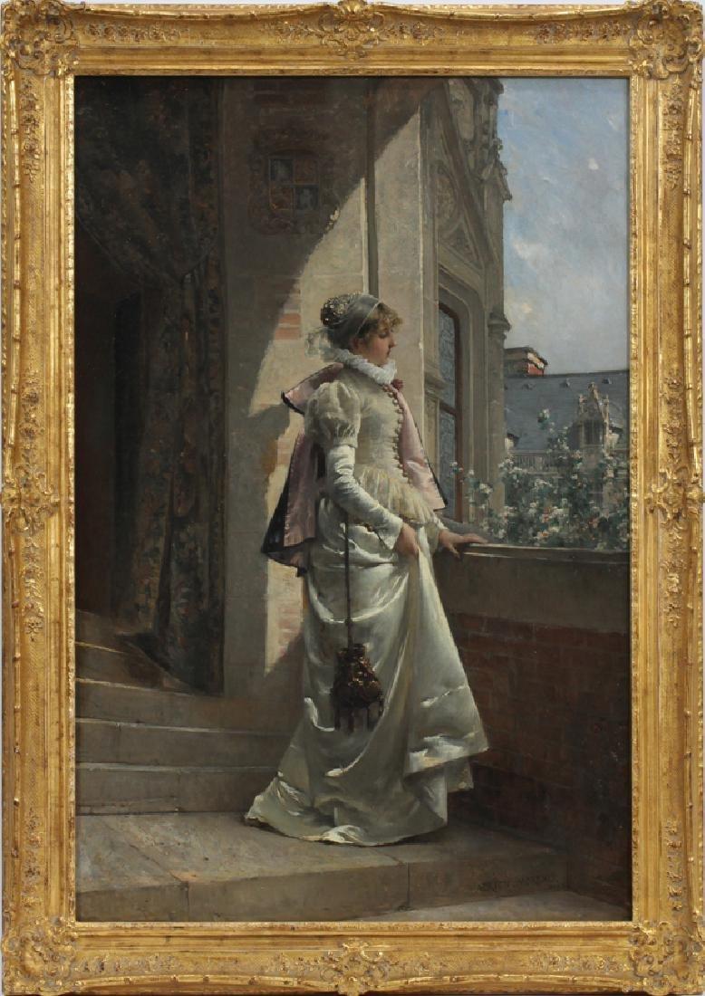 ADRIEN MOREAU ELEGANT LADY IN SATIN DRESS