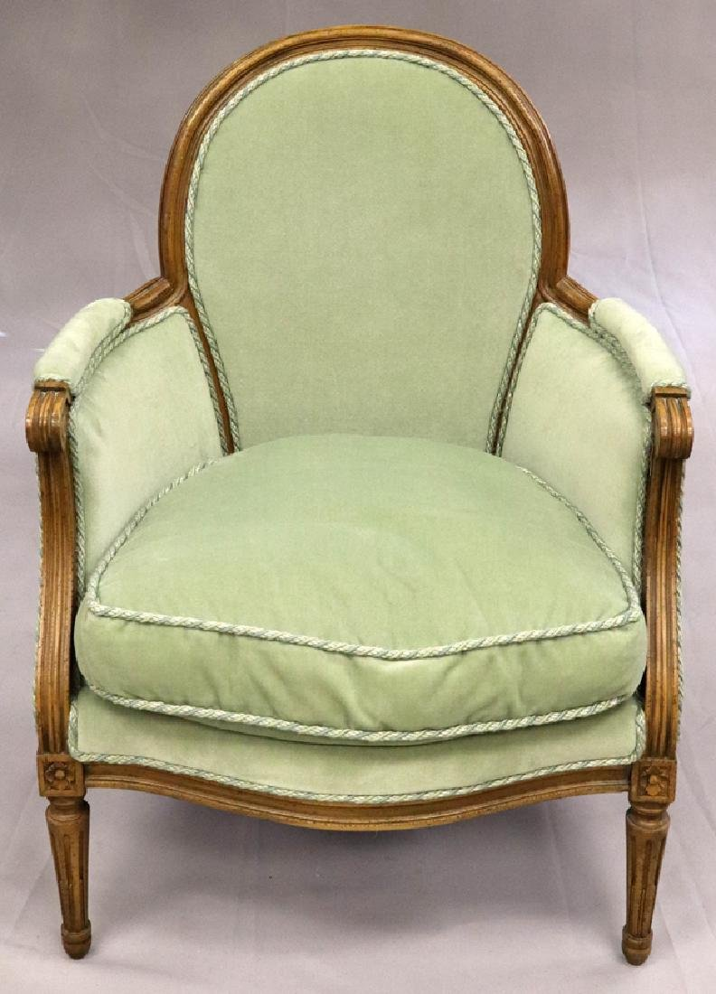 """CARVED WOOD BERGERE CHAIR, H 34"""", W 27"""", L 27"""""""