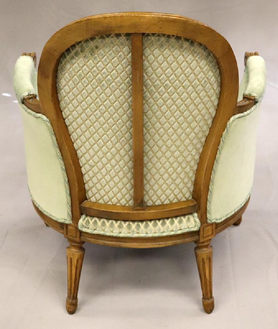 """CARVED WOOD BERGERE CHAIR, H 34"""", W 27"""", L 27"""" - 2"""