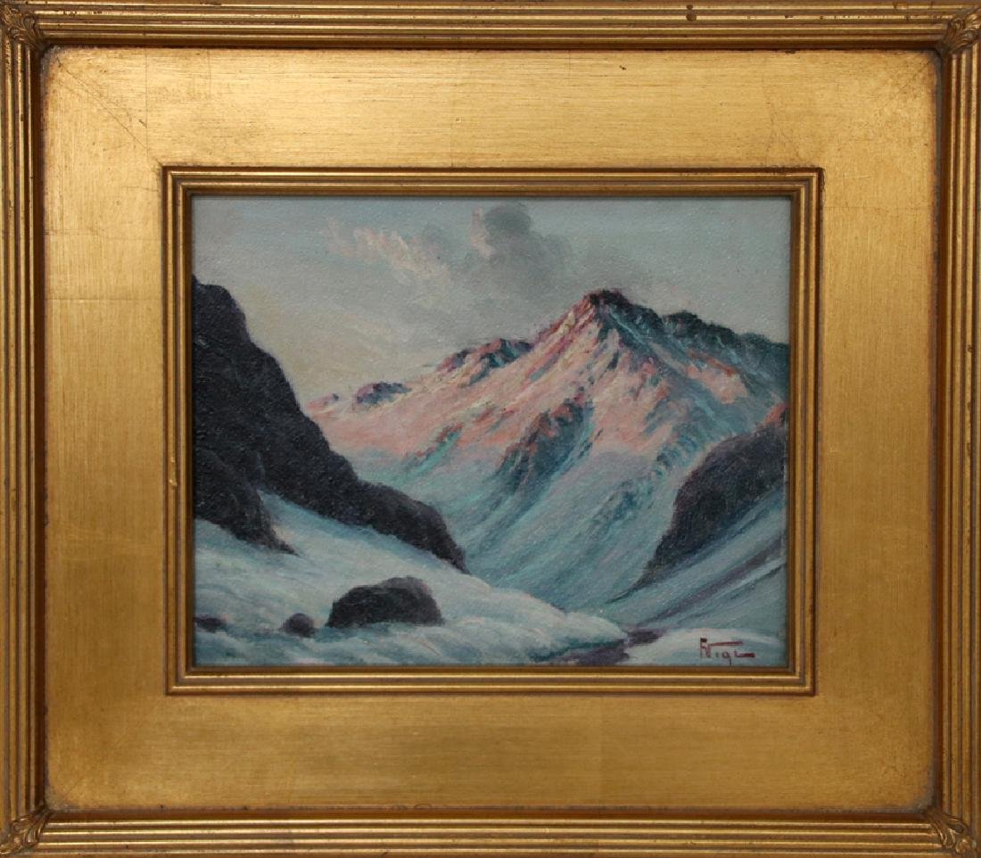 SIGNED OIL ON BOARD MOUNTAINSCAPE