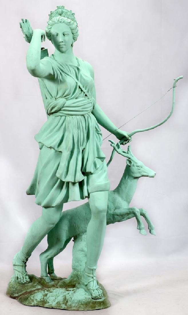 GREEN PATINATED  BRONZE CLASSICAL STYLE SCULPTURE - 2