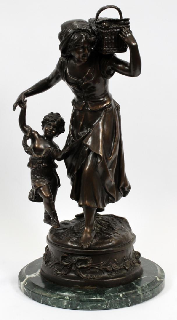 BRONZE SCULPTURE MOTHER AND CHILD