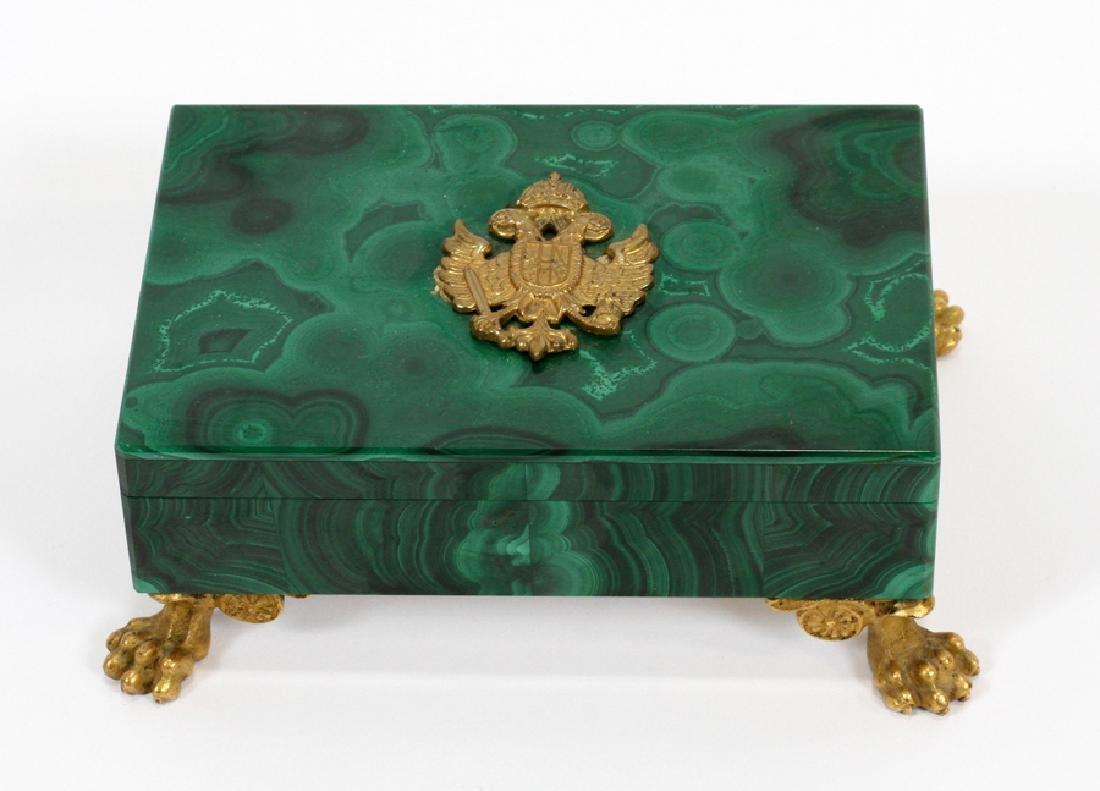 ITALIAN SILVER & MALACHITE COVERED BOX