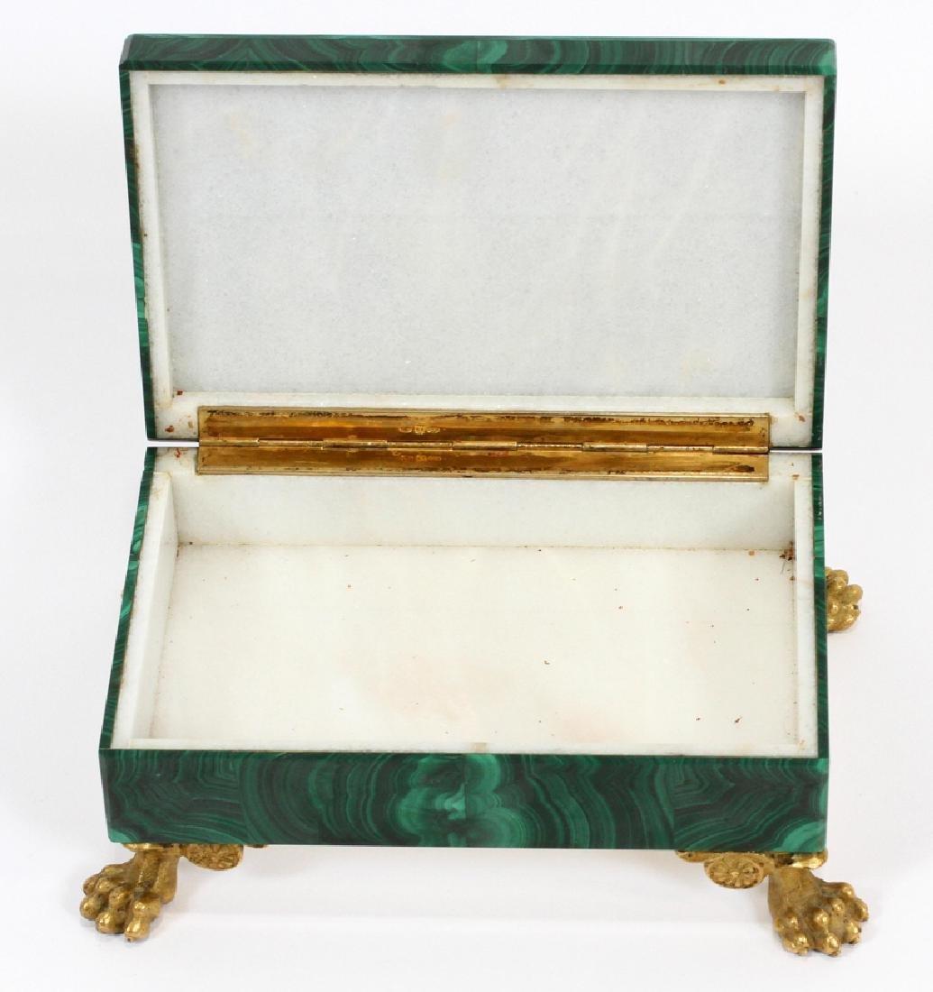 ITALIAN SILVER & MALACHITE COVERED BOX - 3