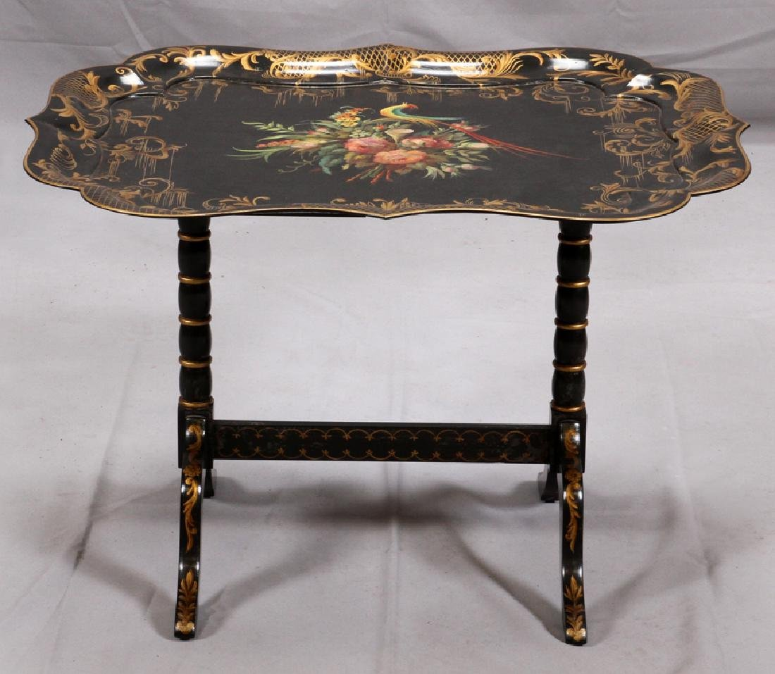BAKER CO. BLACK LACQUERED TRAY TABLE