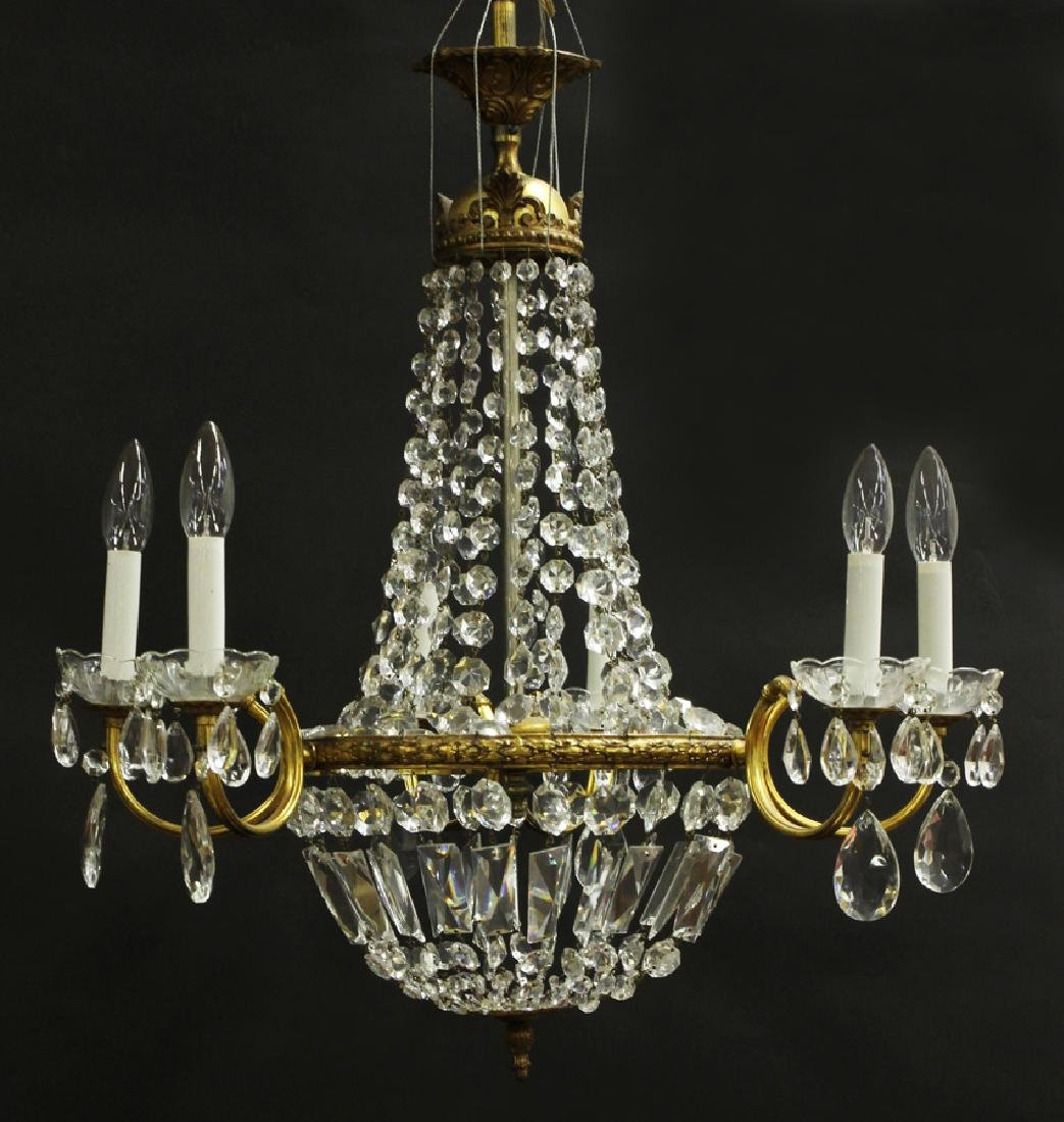 FRENCH EMPIRE BRONZE D'ORE AND CRYSTAL CHANDELIER