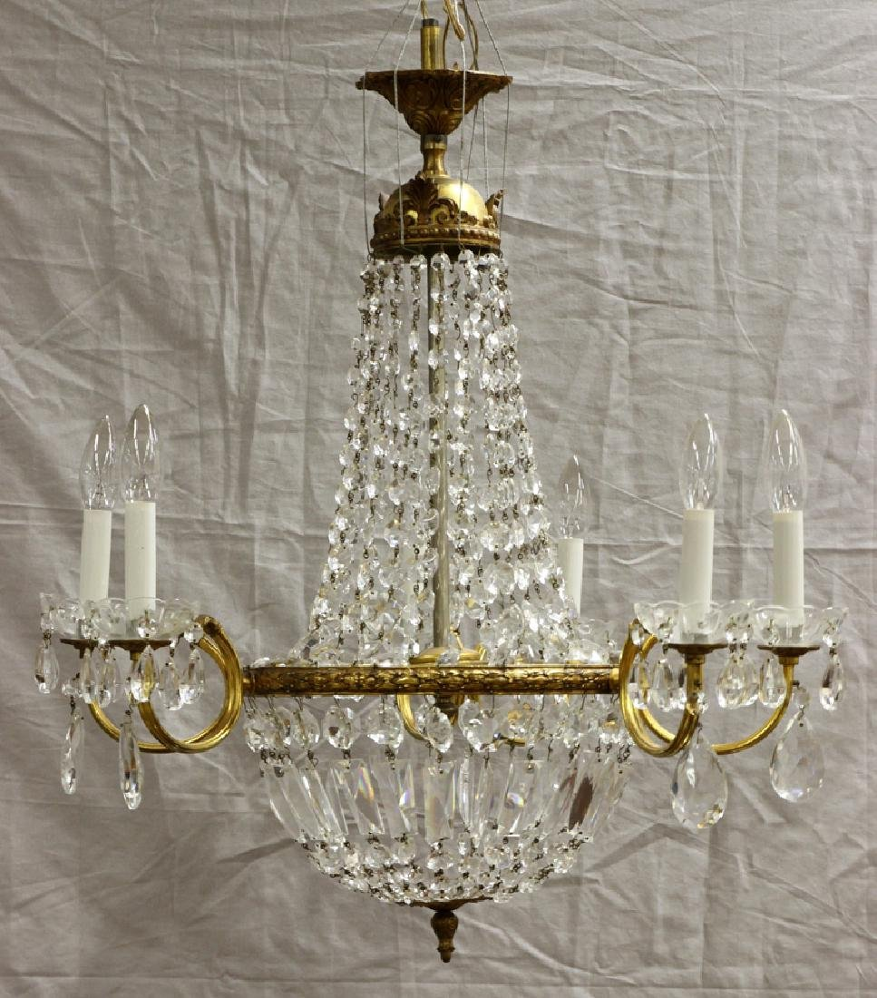 FRENCH EMPIRE BRONZE D'ORE AND CRYSTAL CHANDELIER - 2