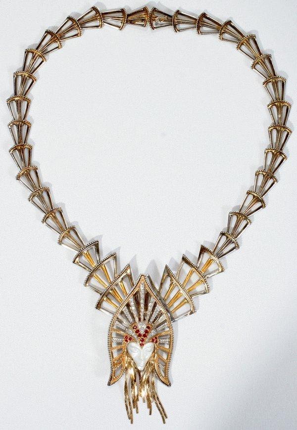 080001: ERTE 14K GOLD, DIAMOND & RUBY NECKLACE