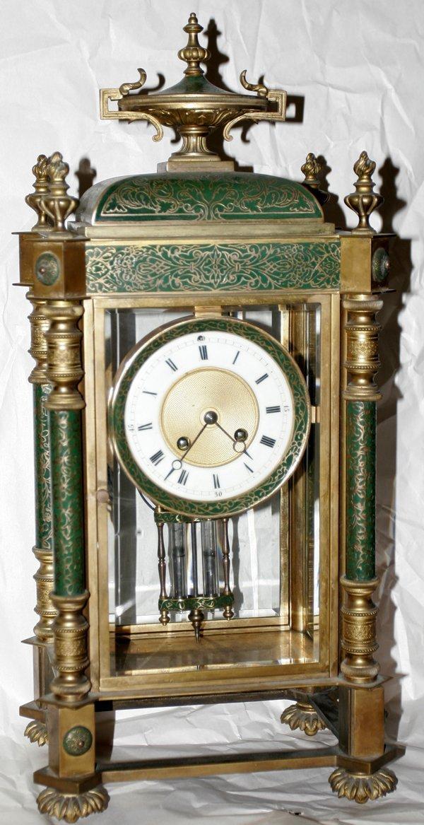080011: JAPY FRERES BRONZE & ENAMEL MANTLE CLOCK