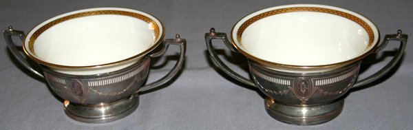 080017: LENOX & WHITING STERLING & CHINA SOUP HOLDERS