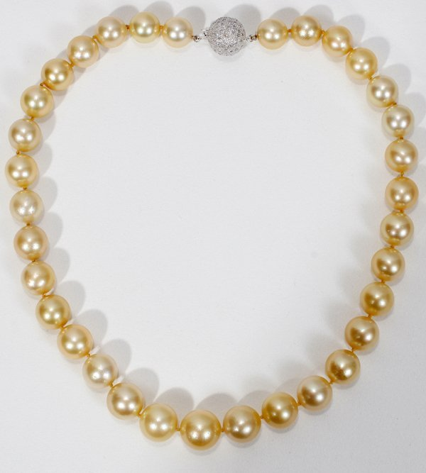 """080024: 12-15MM SOUTH SEA GOLDEN PEARL NECKLACE, L16"""""""