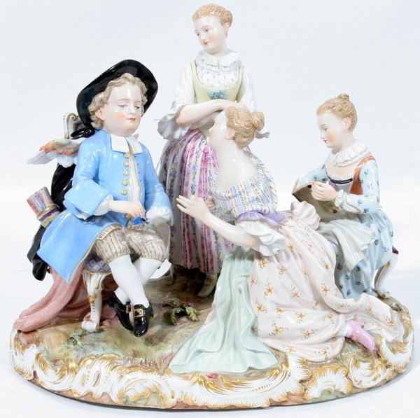 081003: MEISSEN PORCELAIN FIGURAL GROUPING, 19TH C.