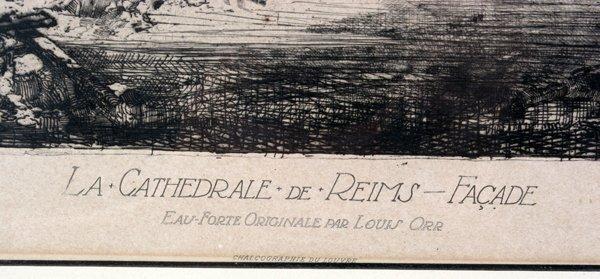 081216: LOUIS ORR ETCHING, LA CATHEDRALE DE REIMS - 2