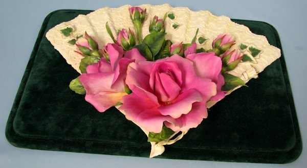 082014: DIANE LEWIS CHANCE PORCELAIN ROSE ON FAN