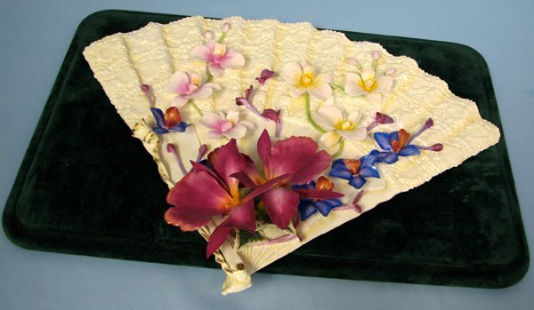 082015: BONE CHINA ORCHID FAN BY DIANE LEWIS CHANCE