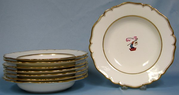 082016: CHAMBERLAIN WORCESTER 'VICTORY' SOUP PLATES