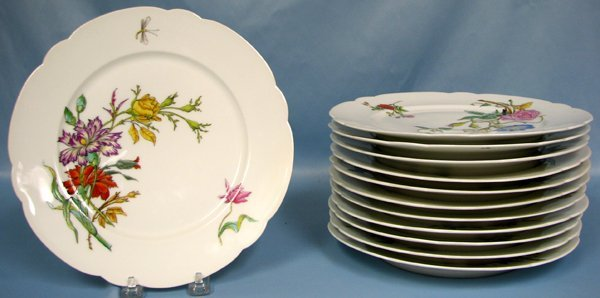 082019: FAIENCE PORCELAIN DINNER PLATES, SET OF 12