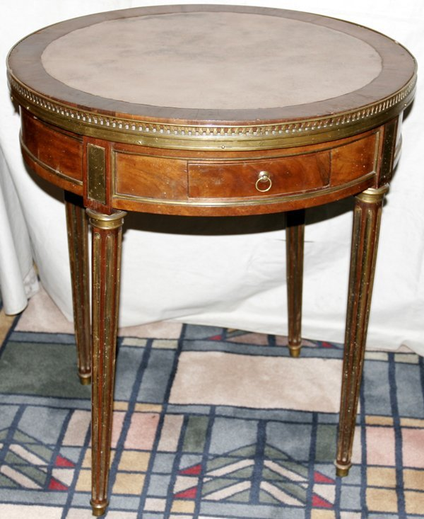 082020: FRENCH MAHOGANY ROUND GAMES TABLE, 19TH C.