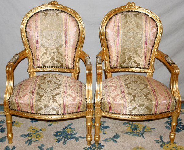 082022: LOUIS XVI STYLE GILT WOOD CHAIRS, PAIR