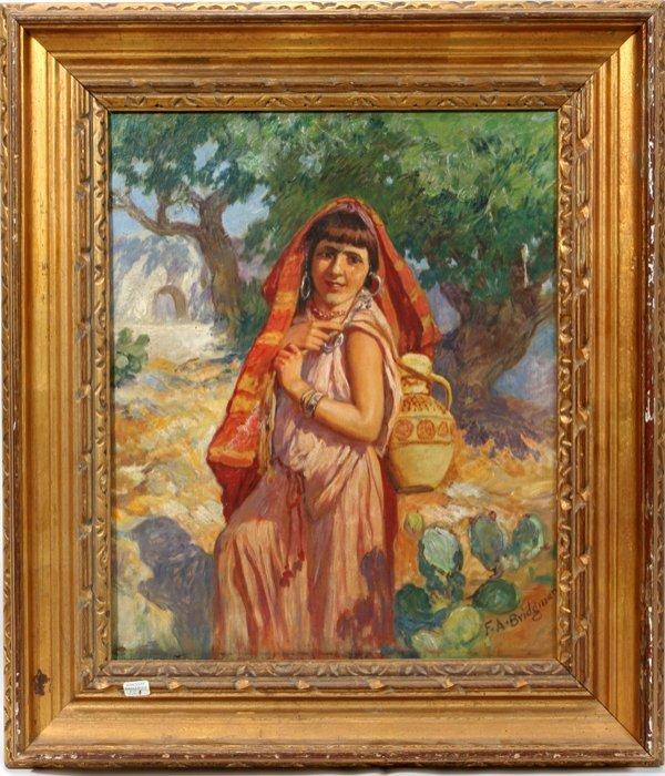 082090: SIGNED F.A. BRIDGMAN OIL ON CANVAS, GIRL