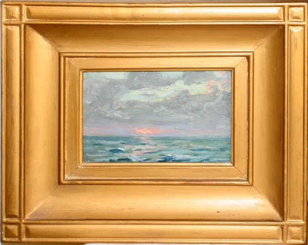 082108: FRANK T. HUTCHINS OIL ON BOARD, SUNSET AT SEA