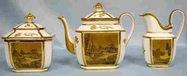 LIMOGES PORCELAIN TEA SET C.1892, 3 PCS.
