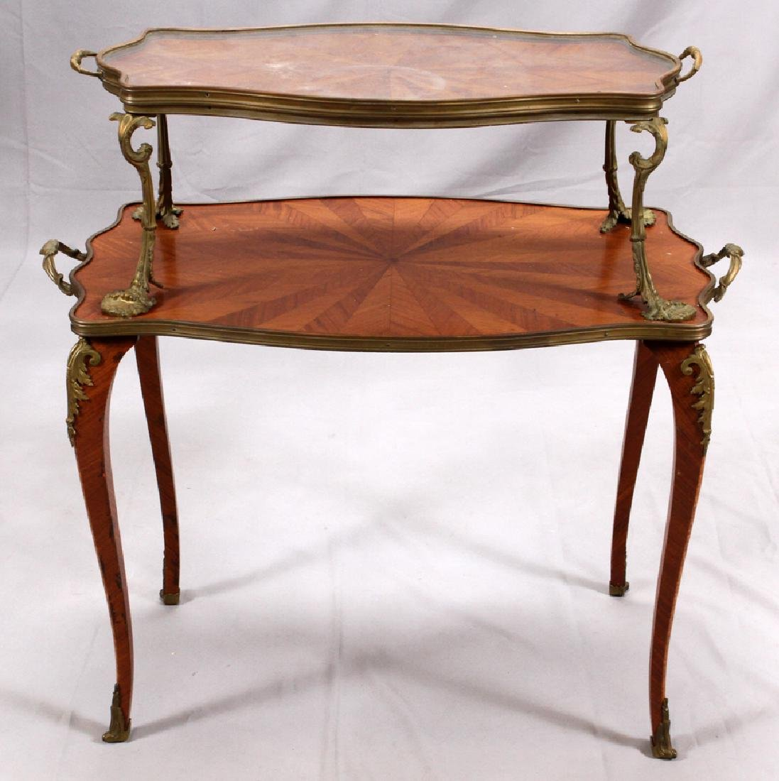 FRENCH, MAHOGANY & BRONZE TRAY TOP TABLE, 19TH C.