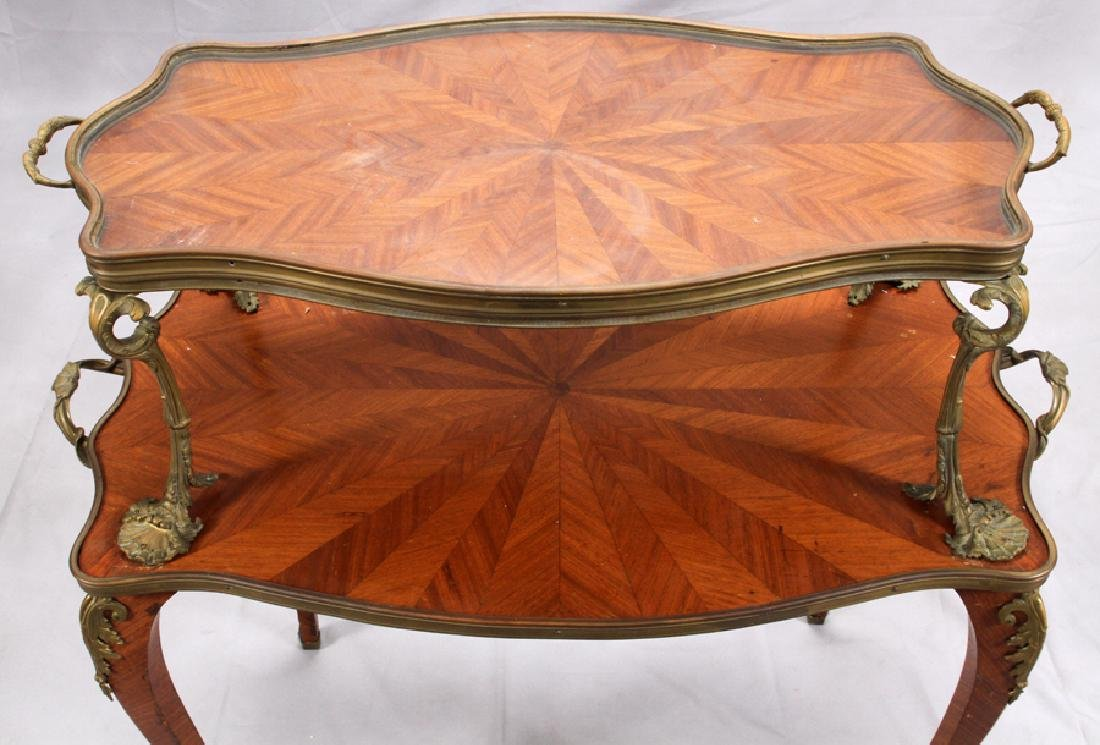 FRENCH, MAHOGANY & BRONZE TRAY TOP TABLE, 19TH C. - 2
