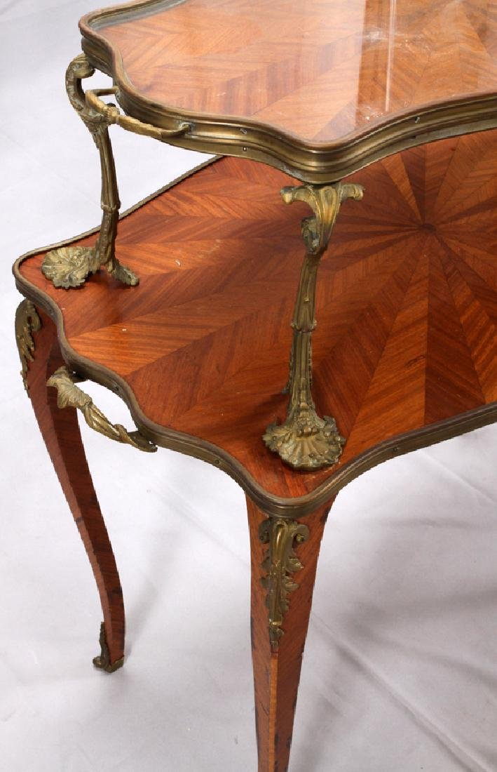 FRENCH, MAHOGANY & BRONZE TRAY TOP TABLE, 19TH C. - 3