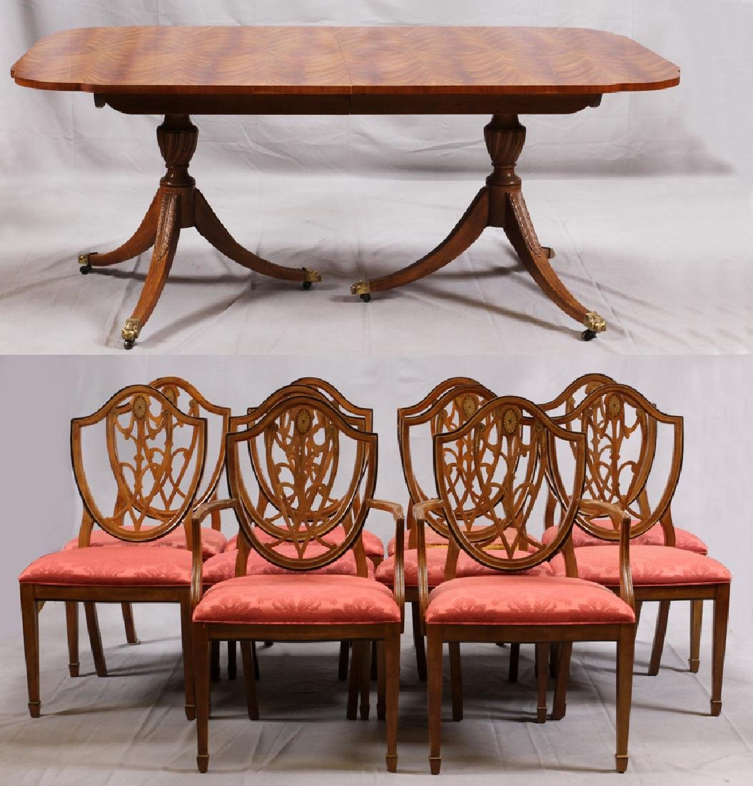 DREXEL HERITAGE MAHOGANY DINING TABLE W/ CHAIRS