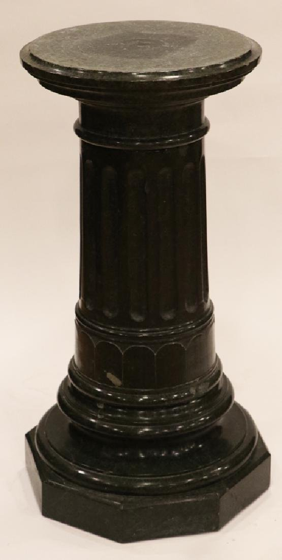 """CARVED GREEN MARBLE PEDESTAL, H 33 1/2"""", DIA 16"""""""