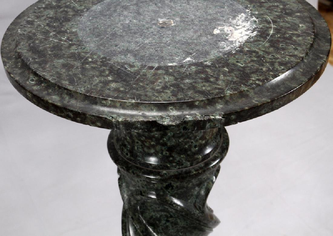 """CARVED GREEN MARBLE PEDESTAL, H 43"""", DIA 10 1/2"""" - 3"""
