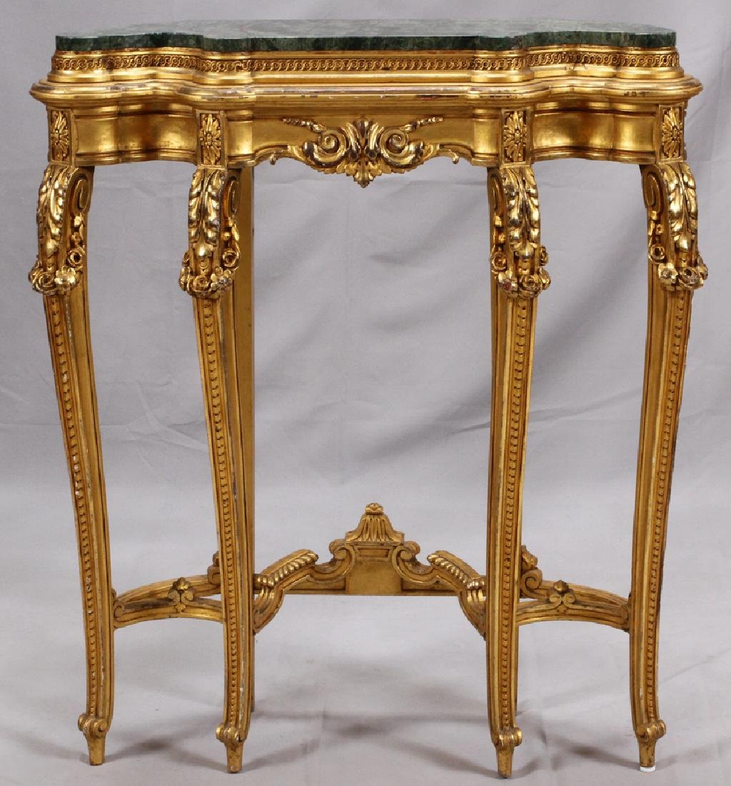 LOUIS XV STYLE MARBLE TOP, GILT WOOD CONSOLE TABLE