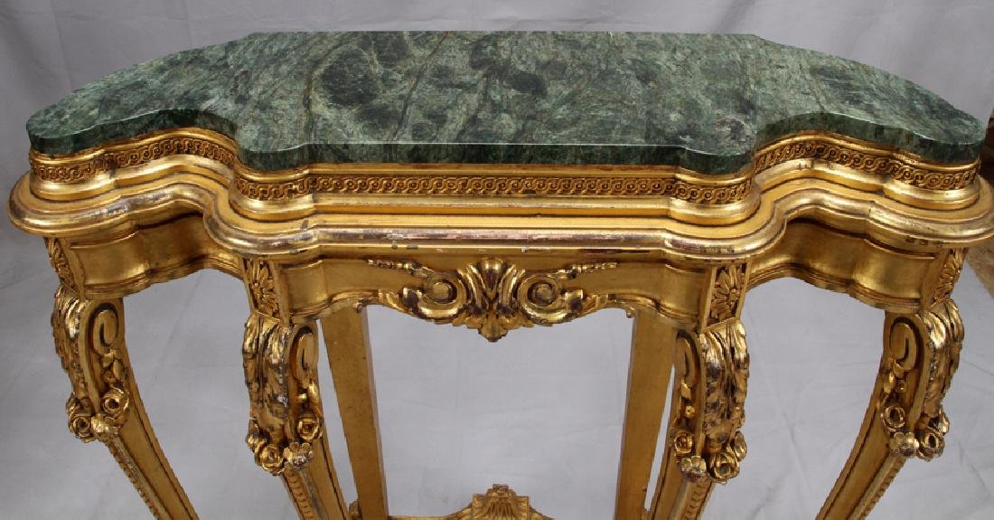 LOUIS XV STYLE MARBLE TOP, GILT WOOD CONSOLE TABLE - 3