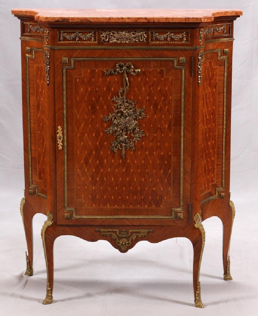 G. MALIN LOUIS XV STYLE MARBLE TOP MUSIC CABINET