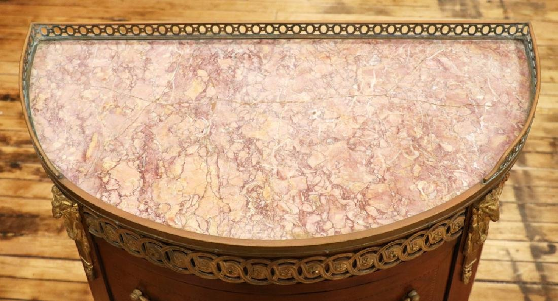 FRENCH MAHOGANY PARQUETRY INLAID MARBLE TOP CHEST - 2