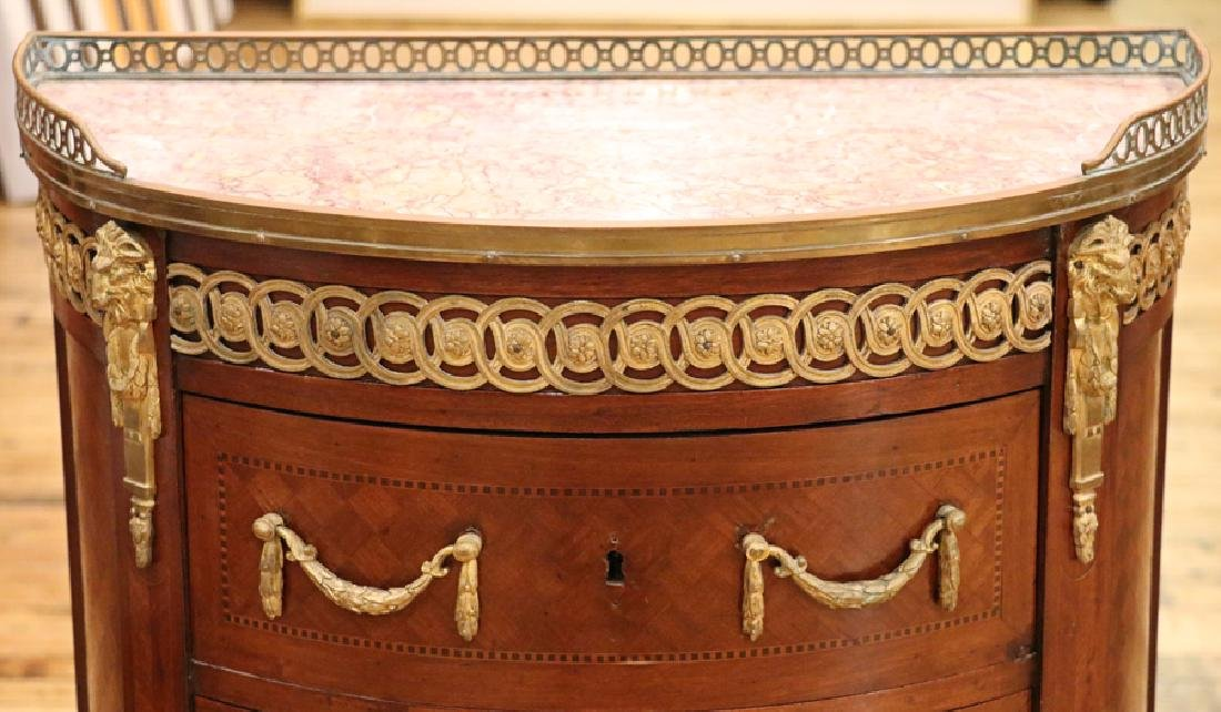 FRENCH MAHOGANY PARQUETRY INLAID MARBLE TOP CHEST - 3