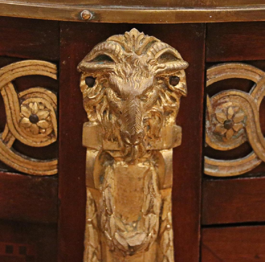FRENCH MAHOGANY PARQUETRY INLAID MARBLE TOP CHEST - 4