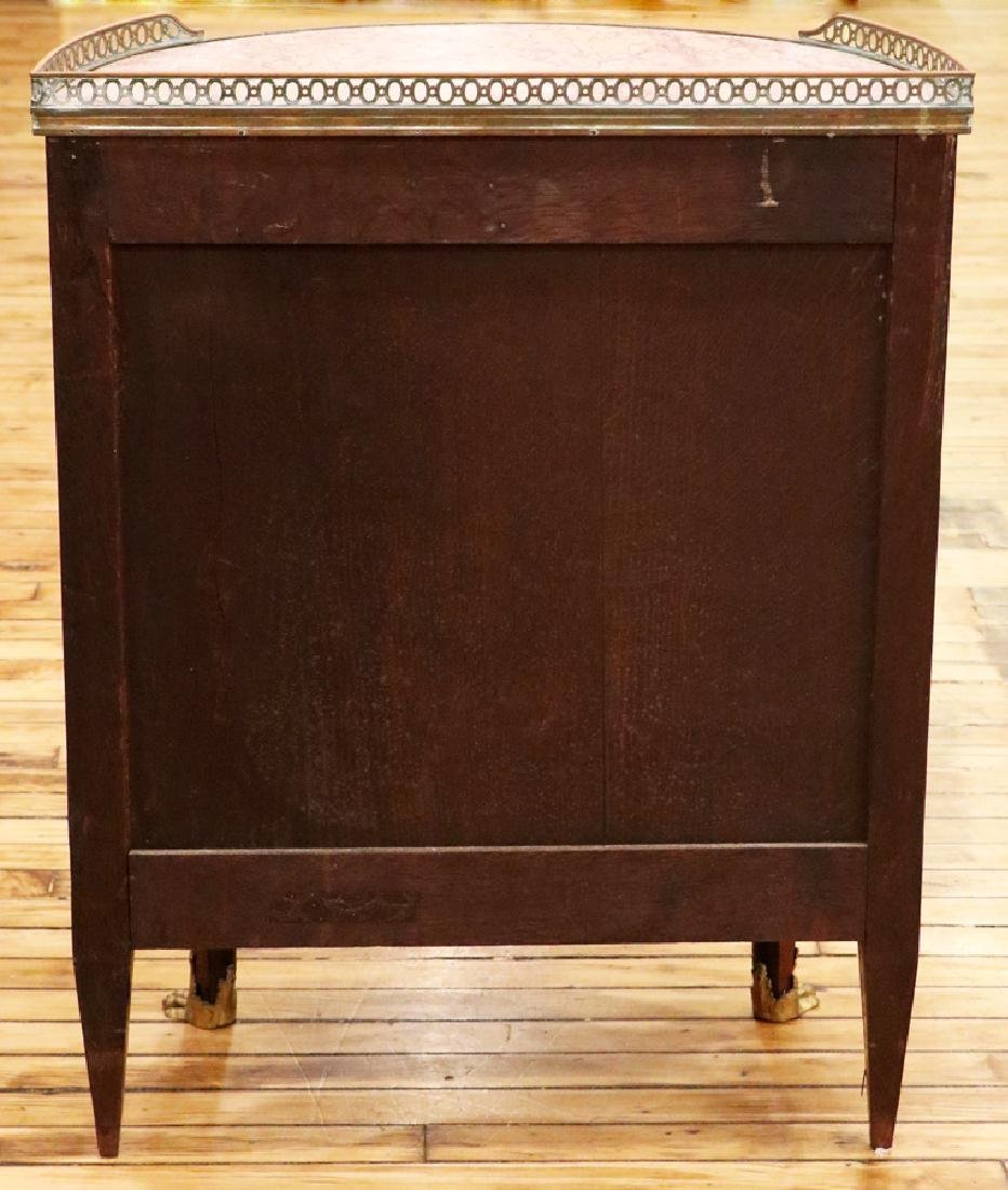 FRENCH MAHOGANY PARQUETRY INLAID MARBLE TOP CHEST - 5