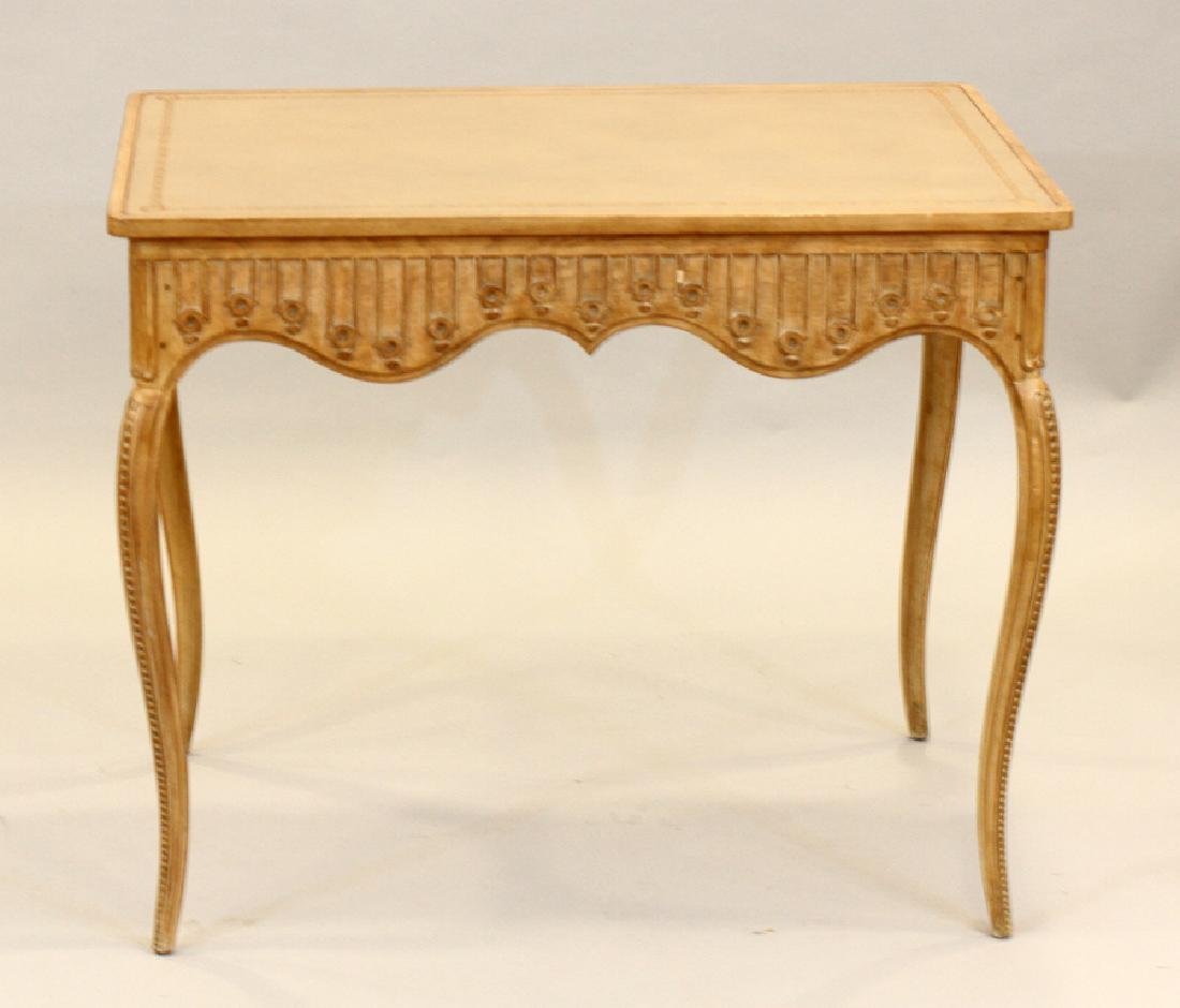 CARVED PICKLED WOOD CARD TABLE